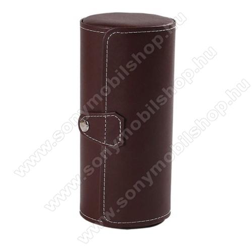 UNIVERZÁLIS Óratartó / tároló doboz - KÁVÉBARNA - PU bőr, 3 óra tárolására alkalmas, patent záródás, méret: 19.5cm x 9cm