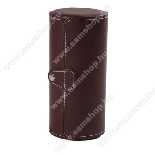 SAMSUNG SM-R381 Gear 2 NeoUNIVERZÁLIS Óratartó / tároló doboz - KÁVÉBARNA - PU bőr, 3 óra tárolására alkalmas, patent záródás, méret: 19.5cm x 9cm