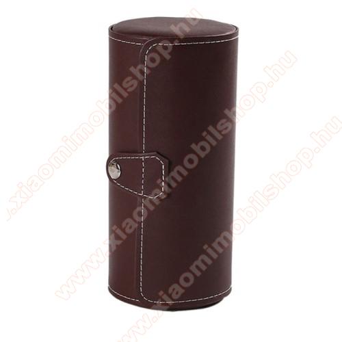 Xiaomi Amazfit Verge 2UNIVERZÁLIS Óratartó / tároló doboz - KÁVÉBARNA - PU bőr, 3 óra tárolására alkalmas, patent záródás, méret: 19.5cm x 9cm