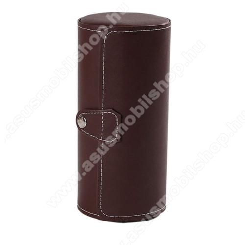 ASUS ZenwatchUNIVERZÁLIS Óratartó / tároló doboz - KÁVÉBARNA - PU bőr, 3 óra tárolására alkalmas, patent záródás, méret: 19.5cm x 9cm
