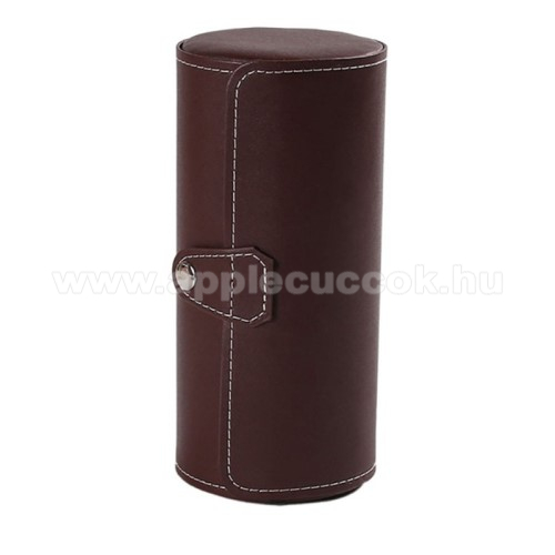 APPLE Watch Series 1 42mmUNIVERZÁLIS Óratartó / tároló doboz - KÁVÉBARNA - PU bőr, 3 óra tárolására alkalmas, patent záródás, méret: 19.5cm x 9cm