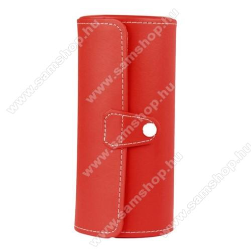 SAMSUNG SM-R381 Gear 2 NeoUNIVERZÁLIS Óratartó / tároló doboz - PIROS - PU bőr, 3 óra tárolására alkalmas, patent záródás, méret: 19.5cm x 9cm