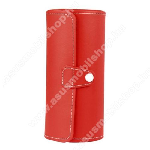 ASUS ZenwatchUNIVERZÁLIS Óratartó / tároló doboz - PIROS - PU bőr, 3 óra tárolására alkalmas, patent záródás, méret: 19.5cm x 9cm