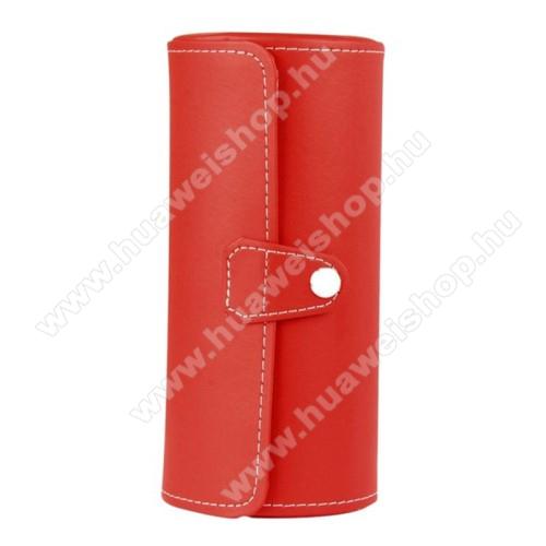 HUAWEI Honor Band 3UNIVERZÁLIS Óratartó / tároló doboz - PIROS - PU bőr, 3 óra tárolására alkalmas, patent záródás, méret: 19.5cm x 9cm