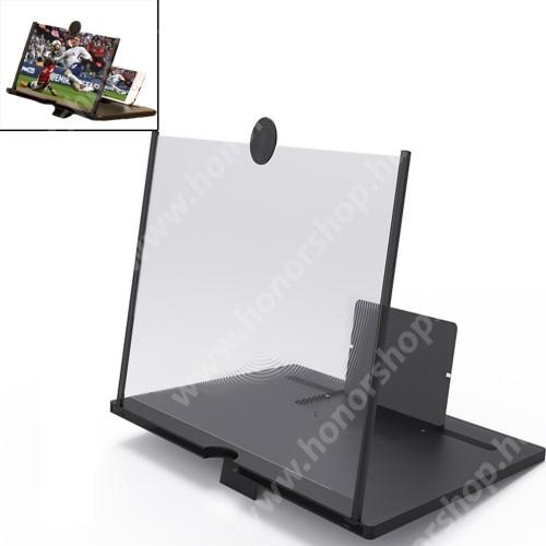 """UNIVERZÁLIS összecsukható asztali telefon tartó, állvány / nagyító - 10""""-ig nagyítja fel a képernyőt - FEKETE"""