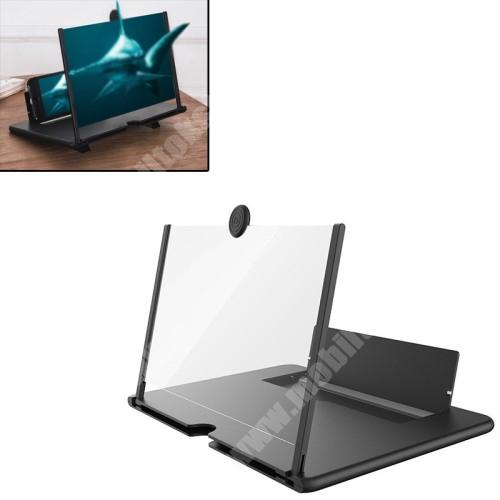 """UNIVERZÁLIS összecsukható asztali telefon tartó, állvány / nagyító - 12""""-ig nagyítja fel a képernyőt, összecsukható, csúszásgátló - FEKETE - 260 x 174 x 9mm"""