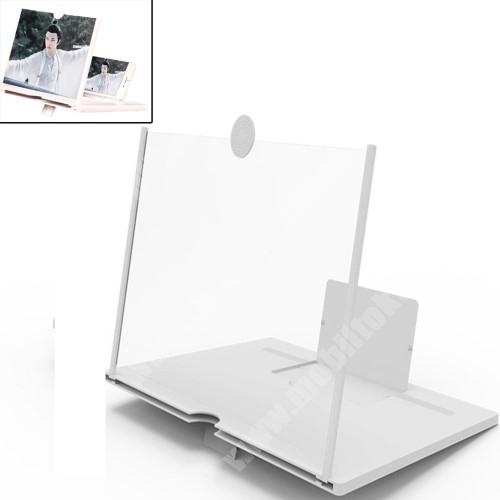 """UNIVERZÁLIS összecsukható asztali telefon tartó, állvány / nagyító - 10""""-ig nagyítja fel a képernyőt - FEHÉR"""