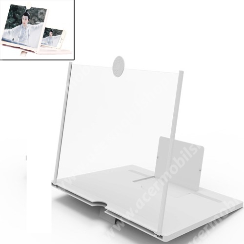 """ACER Liquid Z3 UNIVERZÁLIS összecsukható asztali telefon tartó, állvány / nagyító - 10""""-ig nagyítja fel a képernyőt - FEHÉR"""