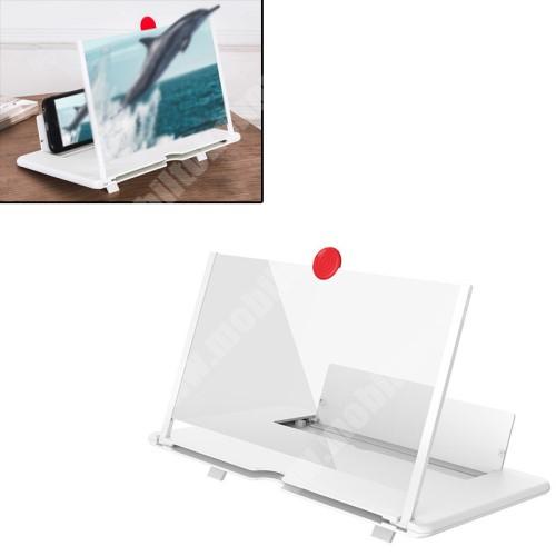 """LG G4c (H525N) UNIVERZÁLIS összecsukható asztali telefon tartó, állvány / nagyító - 12""""-ig nagyítja fel a képernyőt, összecsukható, csúszásgátló - FEHÉR - 260 x 174 x 9mm"""