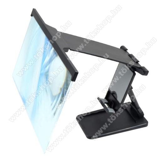 UNIVERZÁLIS összecsukható asztali telefon tartó, állvány / nagyító - 2-3-szorosára nagyítja fel a képernyőt, videó megtekintésének legjobb távolsága 50-150cm, összecsukható - FEKETE