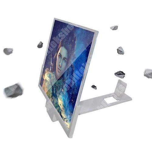 """LG G4c (H525N) UNIVERZÁLIS összecsukható asztali telefon tartó, állvány / nagyító - 14""""-ig nagyítja fel a képernyőt, összecsukható, csúszásgátló - FEHÉR - 210 x 300 mm"""