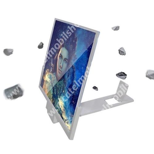 """UNIVERZÁLIS összecsukható asztali telefon tartó, állvány / nagyító - 14""""-ig nagyítja fel a képernyőt, összecsukható, csúszásgátló - FEHÉR - 210 x 300 mm"""