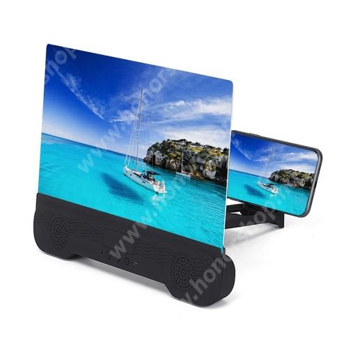 """UNIVERZÁLIS összecsukható asztali telefon tartó, állvány / nagyító / Bluetooth hangszóró - 14""""-ig nagyítja fel a képernyőt, beépített 1200mAh akkumulátor, V5.0, összecsukható - FEKETE"""