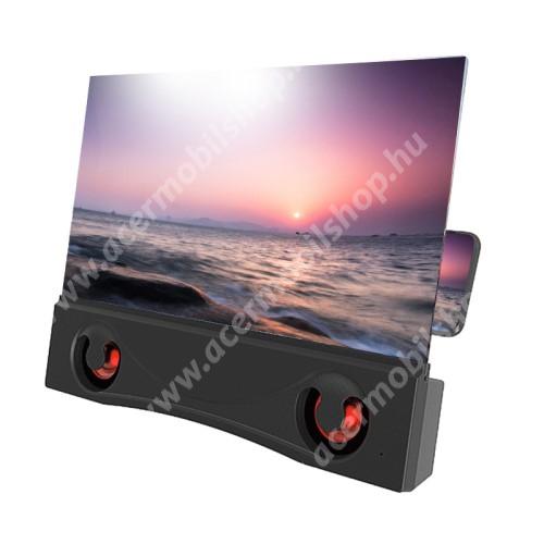 """UNIVERZÁLIS összecsukható asztali telefon tartó, állvány / nagyító / Bluetooth hangszóró - 12""""-ig nagyítja fel a képernyőt, 2000mAh akkumulátor, USB port - FEKETE"""