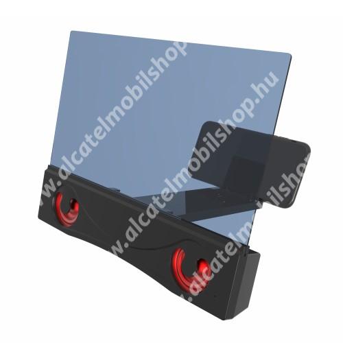 """ALCATEL OT 800 Tribe UNIVERZÁLIS összecsukható asztali telefon tartó, állvány / nagyító / Bluetooth hangszóró - v3.0, 4W, 12""""-ig nagyítja fel a képernyőt, micoUSB kábellel és 18650 elemmel is használható (TARTOZÉK!), 252 x 200 x 30mm - FEKETE"""