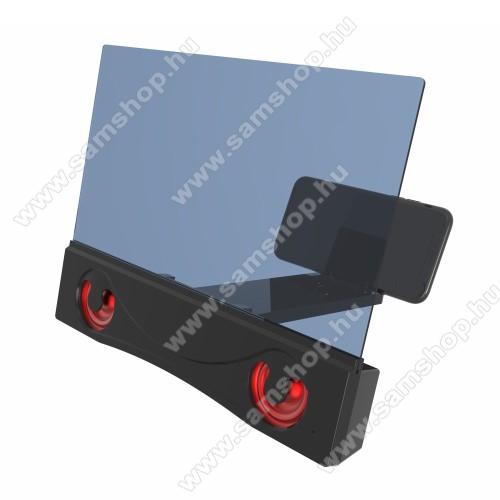 UNIVERZÁLIS összecsukható asztali telefon tartó, állvány / nagyító / Bluetooth hangszóró - v3.0, 4W, 12