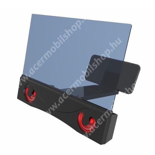 """UNIVERZÁLIS összecsukható asztali telefon tartó, állvány / nagyító / Bluetooth hangszóró - v3.0, 4W, 12""""-ig nagyítja fel a képernyőt, 252 x 200 x 30mm - FEKETE"""