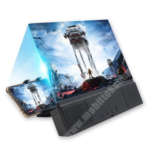 """UNIVERZÁLIS összecsukható asztali telefon tartó, állvány / nagyító / Bluetooth hangszóró - v5.0, 3W, 18650 akku kompatibilis (NEM TARTOZÉK!), 12""""-ig nagyítja fel a képernyőt, 255 x 195 x 35mm - FEKETE"""