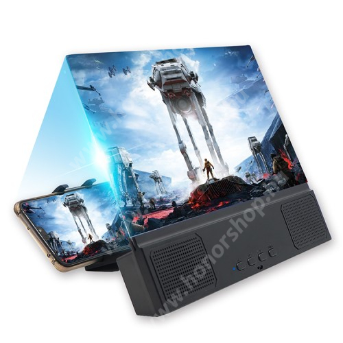 """UNIVERZÁLIS összecsukható asztali telefon tartó, állvány / nagyító / Bluetooth hangszóró - v5.0, 3W, 18650 akku kompatibilis (TARTOZÉK!), 12""""-ig nagyítja fel a képernyőt, 255 x 195 x 35mm - FEKETE"""