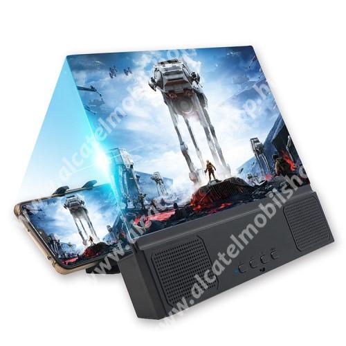 """ALCATEL OT 800 Tribe UNIVERZÁLIS összecsukható asztali telefon tartó, állvány / nagyító / Bluetooth hangszóró - v5.0, 3W, 18650 akku kompatibilis (TARTOZÉK!), 12""""-ig nagyítja fel a képernyőt, 255 x 195 x 35mm - FEKETE"""