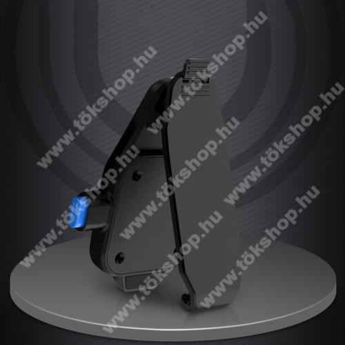 UNIVERZÁLIS övcsipesz / kitámasztó okostelefonokhoz - asztali tartó funkció, 360°-ban forgatható, vízszintes és függőlegesen is csíptethető, 2db felragasztható fémlap, tapadófelület mágneses autós tartóhoz - FEKETE