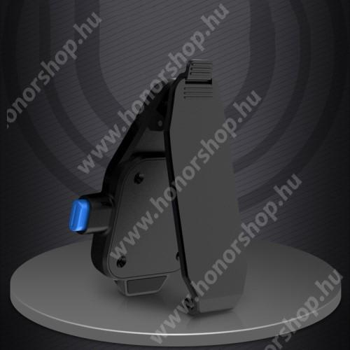 HUAWEI Honor V40 5G UNIVERZÁLIS övcsipesz / kitámasztó okostelefonokhoz - asztali tartó funkció, 360°-ban forgatható, vízszintes és függőlegesen is csíptethető, 2db felragasztható fémlap, tapadófelület mágneses autós tartóhoz - FEKETE
