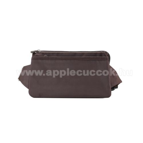 APPLE iPhone XS MaxUNIVERZÁLIS ÖVTÁSKA - BARNA - állítható pánt, csatos záródás, zipzár, több fakkos - 11 x 20 cm, derékszíj hossza 75-106 cm (táska hosszával együtt)