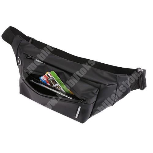 Blackphone UNIVERZÁLIS ÖVTÁSKA - FEKETE - állítható pánt, cipzár, több fakkos, fülhallgató kivezető nyílás - 200 x 140 x 50mm
