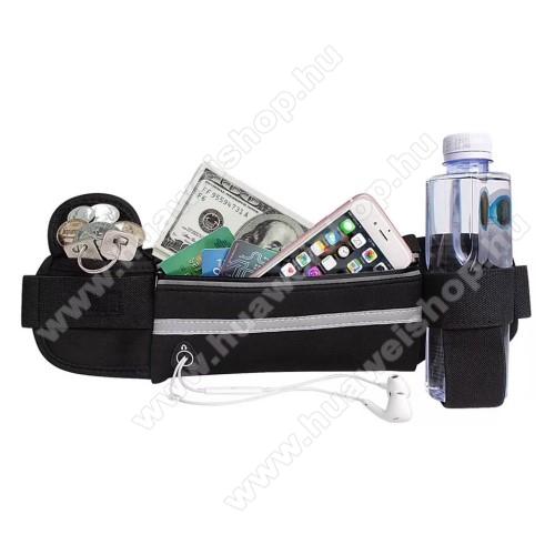 HUAWEI Mate SUNIVERZÁLIS ÖVTÁSKA - FEKETE - neoprén, állítható pánt, cipzár, több fakkos, sportoláshoz, fülhallgató nyílás, palack tartó  - 66 x 114 mm