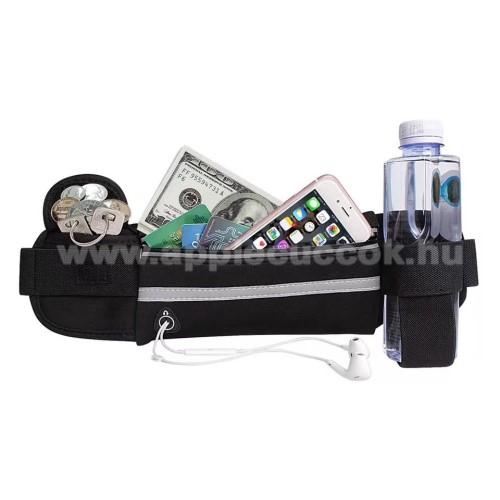 APPLE iPhone XS MaxUNIVERZÁLIS ÖVTÁSKA - FEKETE - neoprén, állítható pánt, cipzár, több fakkos, sportoláshoz, fülhallgató nyílás, palack tartó  - 66 x 114 mm