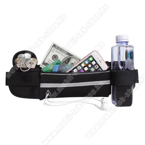 UNIVERZÁLIS ÖVTÁSKA - FEKETE - neoprén, állítható pánt, cipzár, több fakkos, sportoláshoz, fülhallgató nyílás, palack tartó  - 66 x 114 mm