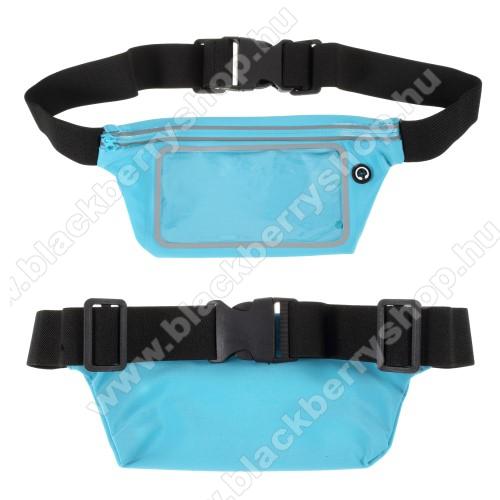 UNIVERZÁLIS ÖVTÁSKA - KÉK - állítható pánt, ultravékony, vízálló, cipzár, fülhallgató nyílás - max. 6,5
