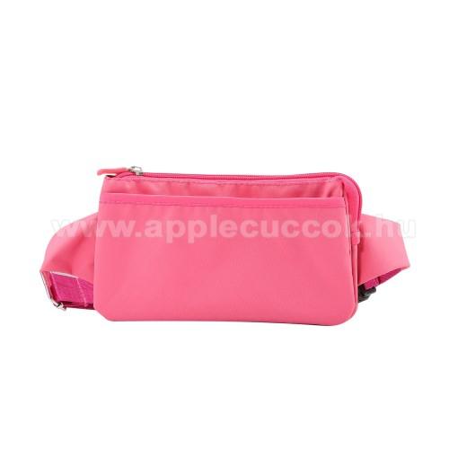 APPLE iPhone XS MaxUNIVERZÁLIS ÖVTÁSKA - RÓZSASZÍN - állítható pánt, csatos záródás, zipzár, több fakkos - 11 x 20 cm, derékszíj hossza 75-106 cm (táska hosszával együtt)
