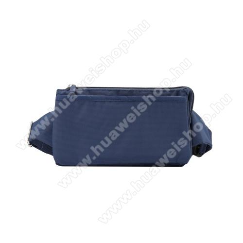 HUAWEI Honor 20 lite (For China Market)UNIVERZÁLIS ÖVTÁSKA - SÖTÉTKÉK - állítható pánt, csatos záródás, zipzár, több fakkos - 11 x 20 cm, derékszíj hossza 75-106 cm (táska hosszával együtt)
