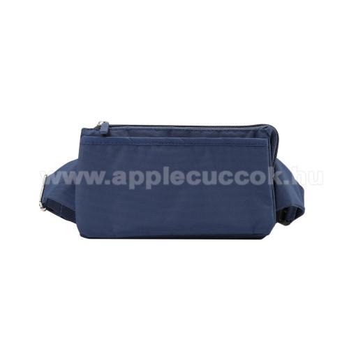 APPLE iPhone XS MaxUNIVERZÁLIS ÖVTÁSKA - SÖTÉTKÉK - állítható pánt, csatos záródás, zipzár, több fakkos - 11 x 20 cm, derékszíj hossza 75-106 cm (táska hosszával együtt)