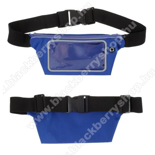 UNIVERZÁLIS ÖVTÁSKA - SÖTÉTKÉK - állítható pánt, ultravékony, vízálló, cipzár, fülhallgató nyílás - max. 6,5