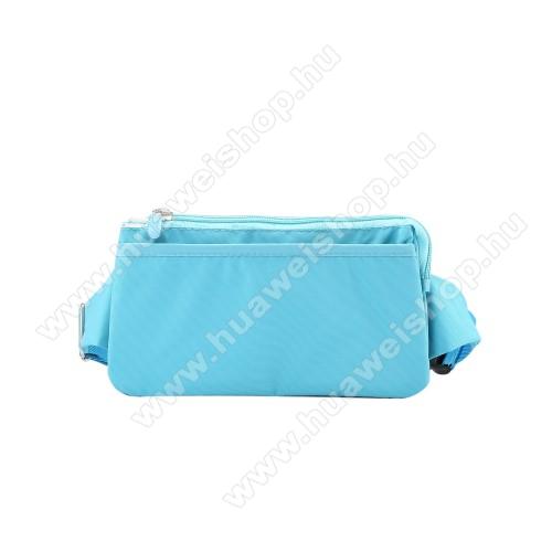 HUAWEI Honor 20 lite (For China Market)UNIVERZÁLIS ÖVTÁSKA - VILÁGOSKÉK - állítható pánt, csatos záródás, zipzár, több fakkos - 11 x 20 cm, derékszíj hossza 75-106 cm (táska hosszával együtt)