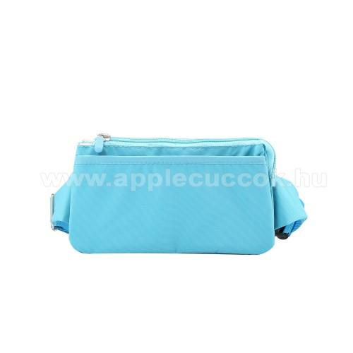 APPLE iPhone XS MaxUNIVERZÁLIS ÖVTÁSKA - VILÁGOSKÉK - állítható pánt, csatos záródás, zipzár, több fakkos - 11 x 20 cm, derékszíj hossza 75-106 cm (táska hosszával együtt)