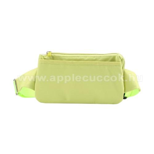 APPLE iPhone XS MaxUNIVERZÁLIS ÖVTÁSKA - ZÖLD - állítható pánt, csatos záródás, zipzár, több fakkos - 11 x 20 cm, derékszíj hossza 75-106 cm (táska hosszával együtt)