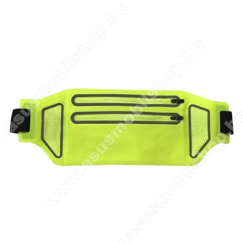 UNIVERZÁLIS ÖVTÁSKA - ZÖLD - állítható pánt, ultravékony, vízálló, cipzár, több fakkos, fülhallgató és kulcstartó zseb - 335 x 130 mm, max. 6,5