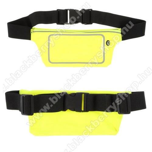 UNIVERZÁLIS ÖVTÁSKA - ZÖLD - állítható pánt, ultravékony, vízálló, cipzár, fülhallgató nyílás - max. 6,5