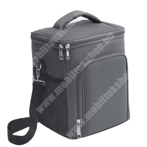 PHILIPS W8510 UNIVERZÁLIS piknik termotáska / ételtartó - SZÜRKE - oxford szövet, hordozó fül, állítható vállpánt, vízálló, cipzár, hálós zseb, hőszigetelő belső, több fakkos, 280 x 230 x 190mm