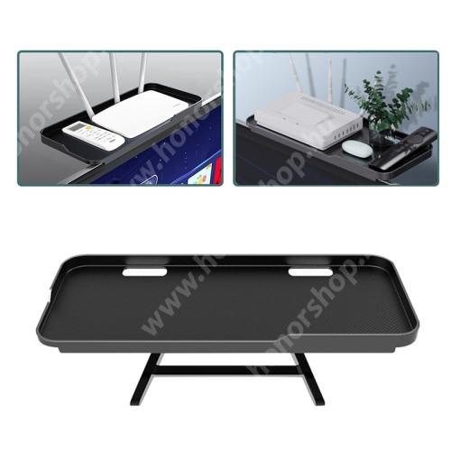 UNIVERZÁLIS polc monitorra / TV-re - 1db, állítható, csúszásgátló, összecsukható, 1kg-ig terhelhető, kábelkivezető, 30 x 12.5 x 2cm - FEKETE
