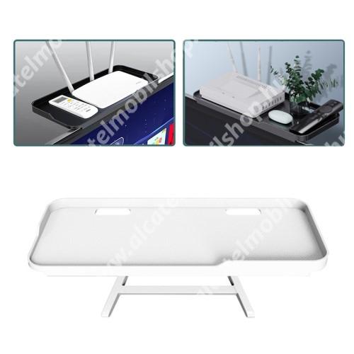 UNIVERZÁLIS polc monitorra / TV-re - 1db, állítható, csúszásgátló, összecsukható, 1kg-ig terhelhető, kábelkivezető, 30 x 12.5 x 2cm - FEHÉR