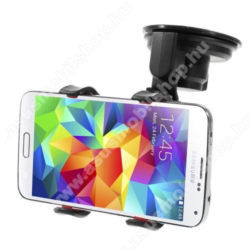 ASUS Zenfone 4 Selfie Lite (ZB520KL)UNIVERZÁLIS rövid karos gépkocsi / autós tartó - tapadókorongos, szélvédőre helyezhető, 360°-ban forgatható, duplacsipeszes bölcső rész - FEKETE