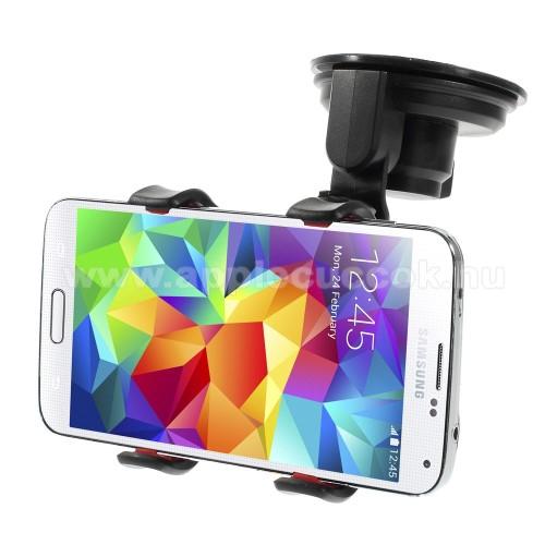 APPLE iPhone 6s PlusUNIVERZÁLIS rövid karos gépkocsi / autós tartó - tapadókorongos, szélvédőre helyezhető, 360°-ban forgatható, duplacsipeszes bölcső rész - FEKETE