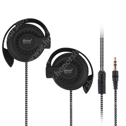 UNIVERZÁLIS sport sztereo headset - 3,5mm Jack, mikrofon, felvevő gomb, fülkampó, 120dB, 32Ω, 45mm-es hangszóró, 1,2 m szövettel bevont vezetékkel - FEKETE