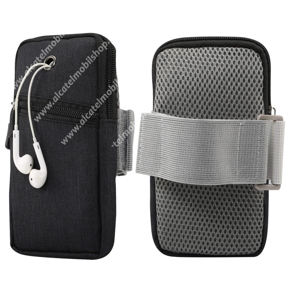 UNIVERZÁLIS Sport tok / karpánt - FEKETE - álló, zipzár, karpánt 22-38 cm-ig állítható, fülhallgató nyílás - 180 x 95 mm