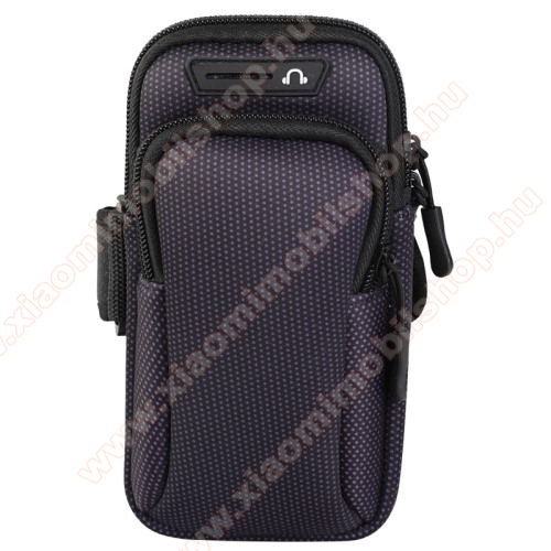 UNIVERZÁLIS Sport tok / karpánt - FEKETE - álló, cipzár, több fakkos, 28cm hosszú karpánt, fülhallgató nyílás - külső méret: 190 x 90mm, első zseb belső mérete: 130 x 80mm, hátsó zseb belső mérete: 160 x 75mm