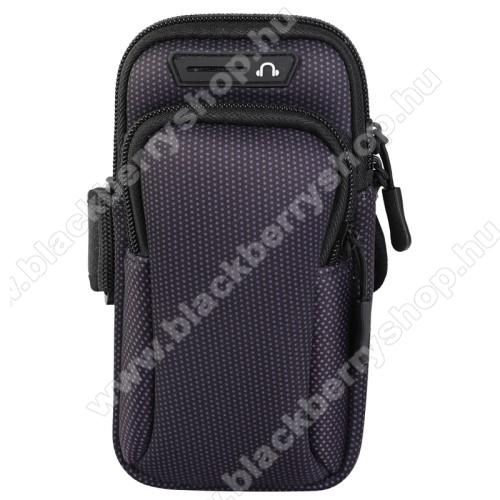 UNIVERZÁLIS Sport tok / karpánt - FEKETE - álló, cipzár, több fakkos, 28cm hosszú karpánt, fülhallgató nyílás - 190 x 90mm